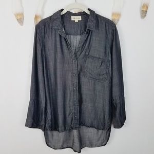 ANTHROPOLOGIE Cloth & Stone Chambray Top Medium